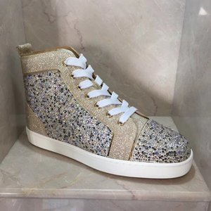 Gold,Sliver Glitter Leather High Top Red Bottom Sneakers Shoes,Perfect Brand Rhinestone Casual Walking Outdoor Couple Skateboard Homme