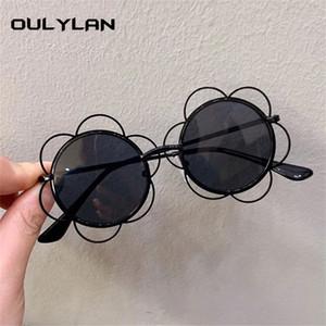 Oulylan لطيف الإطار عباد الشمس النظارات الشمسية الاطفال جميل جولة نظارات شمسية بنات الصيف الأطفال المعدنية ظلال نظارات UV400