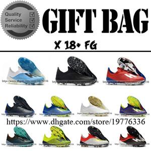 Üst Kalite X 18 FG Deri Futbol Futbol Boots Eğitmenler Mens Laceless Açık Futbol Ayakkabı Futbol Kramponlar Boyut 6,5-11,5
