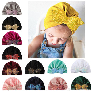 13 Colors Baby Headwrap Pleuche Turban Hat With Sequins Bow Newborn Baby Bowknot Warm India Hat Cap Kids Xmas Party Gifts Photograph