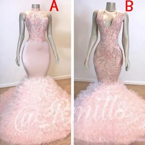 Baby Pink Mermaid African Dresses 2019 en cascada Ruffles tren vestidos de noche largos con apliques de lentejuelas blusa vestidos de noche BC1619