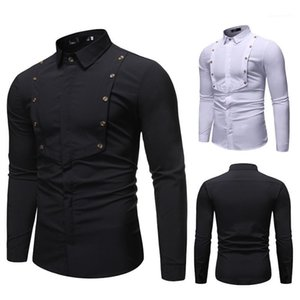 Vêtements Solide Couleur simple boutonnage Homme Hauts Printemps Designer Mens Splice Shirt Mens manches longues Lapel