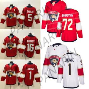 2019 encargo de la Florida Panthers Hockey Lo nuevo 1 Roberto Luongo 16 Aleksander Barkov 5 Aaron Ekblad Rojo Blanco jerseys del hockey