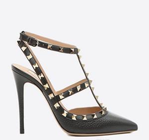 gerçek ayakkabılar! B003 terzi 34/40/41/42 hakiki deri siyah strapy sivri topuklu ayakkabı pompaları sandalet lüks tasarımcı