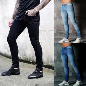 En Yeni Moda Erkek Ripped Skinny Biker Jeans Tahrip Yıpranmış Slim Fit Yumuşak Günlük Denim Uzun Pantolon