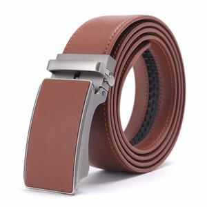 Nuevo diseñador Popular Cinturón de cuero de cuero de vaca Marrón Hebilla automática Cintura del vientre Cinturones casuales de negocios para hombres 3.5 Ancho