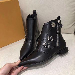 Sıcak Satış-Yeni Tasarımcı Jumble düz ayak bileği boot Martin çizmeler kadınlar için buzağı deri kış çizmeler sivri burun Seksi ayakkabı büyük boy 7 renkler