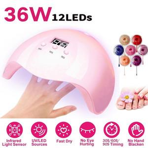 USB UV LED Lamp Nail Dryer 36W Phototherapy Machine Nail Gel Polish Tools 30s 60s 90s Three-stop Timer Smart Sensors Nails Dryer