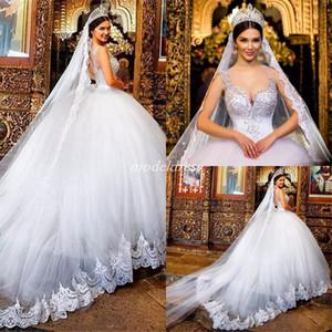 Princesa vestido de baile sheer jóia pescoço cristal beads sweep trem apliques árabes jardim capela país vestidos de noiva vestido de novia plus size
