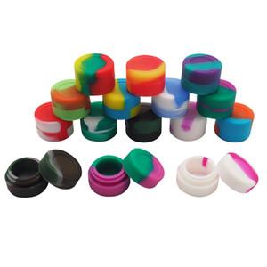 10pcs / lot 3ml mini récipient en silicone de couleur assortie pour récipients en silicone Dabs forme ronde cire pots en silicone