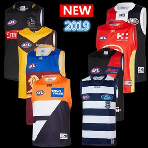 Горячие продажи 2019 все AFL Джерси Geelong кошки Essendon Бомбардировщики Adelaide Crows St Kilda Saints GWS Гиганты GUERNSEY регби трикотажные изделия синглетного