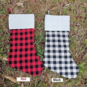 Kırmızı Ekose Noel Stoklama Pamuk manda Fanila Siyah Noel çorap Noel Dekor Poly süblimasyon boşlukları Santa çorap
