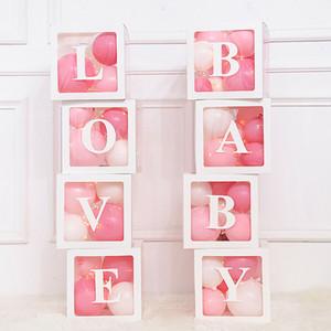 4pcs / set DIY transparente caixa Balão BEBÊ AMOR Scatola para Boy Baby Girl Wedding Shower aniversário do partido da Caja Decoração Fundo SH190925