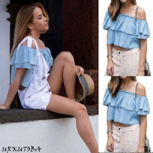 섹시한 여성 여름 티 오프 Shoulde 나비 소매 셔츠 캐주얼 블라우스 느슨한 셔츠 크기 S-L 탑