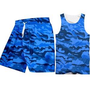 Rétro sans manches Camo Débardeurs Shorts hommes Ensembles d'entraînement personnalisé bleu Camouflage Imprimer Hoodie Gilet Chemises Shorts Combinaisons De Sport Ensembles