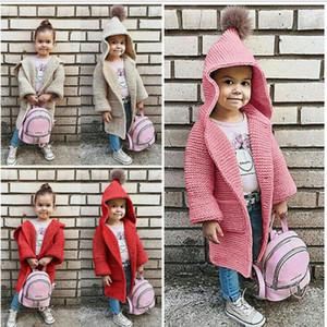 Toddler Bebek Kız Sonbahar Kış Giysileri Örme Kazak Saf Renk çocuk Kızlar Için Uzun Kap Kazak