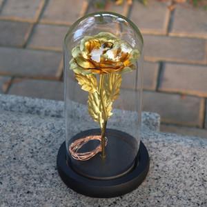 Artificial Gold Foil Rose Flower Night Light No Battery LED Light String In Glass Dome On Wooden Base The Best Gift For Women Gi