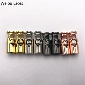 Weiou 2 pcs / 1 Conjunto Sapato Fivela Rolhas Cadarços de Metal Bloqueio de Liga de Zinco Único Furo Primavera Fivela Para Laços Elásticos Corda de Ajuste