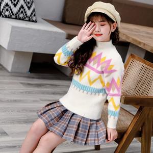 Девушки свитер осень и зимняя одежда для детей Velvet основывая рубашки девушка Алмазного Волнистые свитер