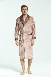Mens Soft-Flanell Robes Winter-Warmhalte Sahes Pyjamas Kontrast Farben pliad Mode Nachtwäsche Männer Designer Unterwäsche