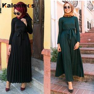 KALENMOS Турция Рамазан Абай Женщина Мусульманского платье Шнуровка марокканского кафтан джилбаб Хиджаб плиссе Vestidos Исламской одежда Mujer
