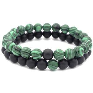 Beautiful Energy Power Crystal 8mm Chakra Malachite Beads Reiki Healing Elastic Stretch Bracelet Accessory Charm Couple Bracelet B672S