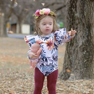 0-18M 2pcs Baby Girls Clothes Set Blue Long Sleeve Baby Bodysuit Floral Print Rompers Headband Baby Girl Hair Bands Newborn Set