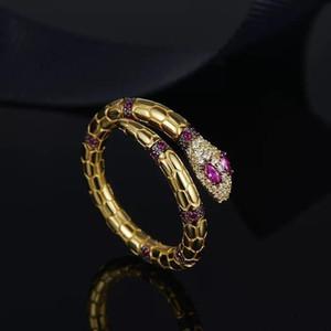 디자이너 SERPENTI 링 보석 925 스털링 실버 3 43b8 # 골드 다이아몬드 모양의 보석 개방 뱀 반지 여성 명품 약혼 반지 장미