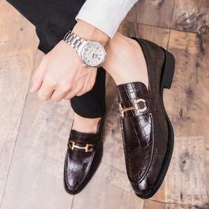 Men Formal Business Brogue Shoes Men's Crocodile Dress Shoes Male Casual Leather Wedding Party Loafers Plus Size 47
