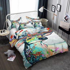 Water-color Deer Antlers Federa Doona della camera da letto Quilt Cover Consolatore copertura 1PC Duvet federa Dropship