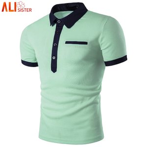 Fashion Mint Green Shirt Men Homme 2020 Summer Style Short Sleeve Solid Color Shirts Mens Polos 3XL Plus Size