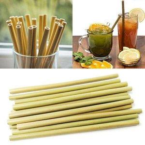 10Pcs Bag Drinking Straws Natural Bamboo Straws Reusable Clean Party Brush Kitchen Eco-Friendly For Wholesale With J8X0
