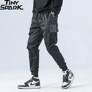 2020 pantalones de Hip Hop de Carga Streetwear hombres Harajuku Joggers Pantalones Hip Hop Swag de Ribbion Harem bolsillos de los pantalones del otoño del verano Pantalones T200706