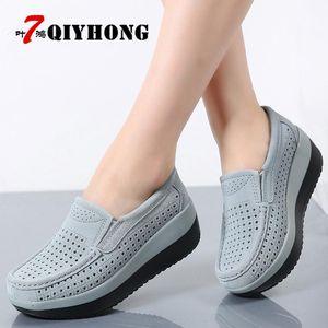 2018Spring Women Flat Plataforma preguiçosos Shoes Ladies camurça ocas sapatos casuais deslizamento em Flats Mocassins