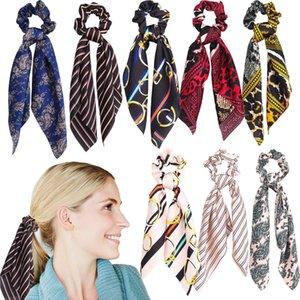 Moda Kadın At Kuyruğu Hairband Sevimli Bayan Üniformaları Saten Atkılar Retro Baskılı Kafa Yumuşak Iş Ipek Eşarplar Şerit Başörtüsü TTA851