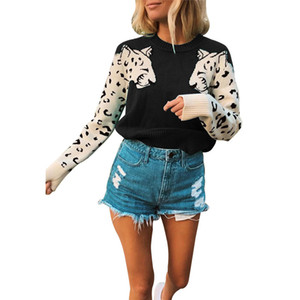 Diseñador para mujer leopardo suéter de la manera Pullover manga larga Tops Mujer remiendo Impreso suéter