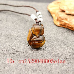 Natural China Jade Stone Fox tigre colgante del collar del ojo Accesorios de Moda encanto de la joyería tallada regalos para hombres, mujeres Amulet