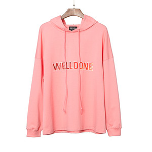 Womens Designer Hoodies WELLDONE Sweatshirts New Long Sleeved WE11DONE Casual Loose Pink Hooded Hoodie Tops Free Size