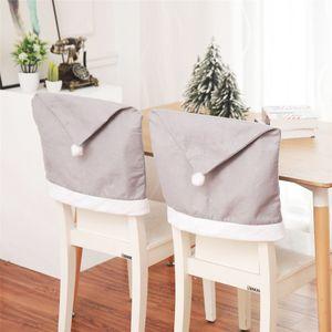 Decoração de Natal Big chapéu cinzento Cadeira Coberta Papai Noel Cap Chair Covers Xmas Banquete Festa assento Caso Decoração JK1910XB