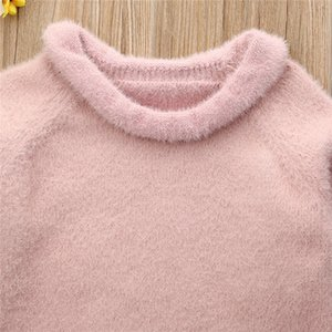 0-3 Years Baby Girls Sweaters Pullovers Fashion Solid Pink Knitted Kid Girls Knitwear Tops Winter Mink Hair Warm Newborn Sweater