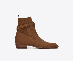 Genuine Leather Wyatt Jodhpur Boot Stacked Heel Ankle Strap Slp Metal Buckle Back Pull Tab Kanye West Fashion Boots Shoes