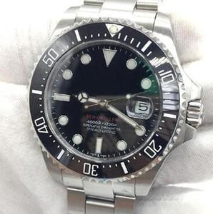 Nueva los 43MM pulsera de acero inoxidable automático de plata Fecha para hombre Relojes Negro Dial Con una cerámica anillo superior de las manos luminosas y marcadores de hora Dot