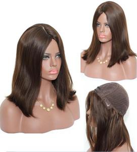 El mejor Sheitels 4x4 Seda superior peluca judía sedosa recta marrón claro # 4 mejor virgen brasileña cabello humano pelucas kosher sin tapa peluca envío gratis