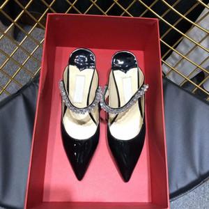 Klasik Moda Topuklu Ayakkabı Tasarımcısı Lüks Lüks Deri Sonu Basit ve Büyük Kadın Yüksek Topuklu Ayakkabı numarası: 19