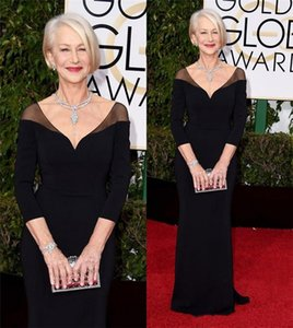 73 ° Golden Globe Awards Abiti celebrità Helen Mirren Maniche lunghe Nero Formale Tappeto rosso Da Sera Prom Abiti da festa Personalizzato