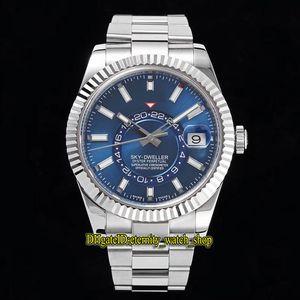Top-versão fuso horário N F Céu dupla Azul Dial Cal.9001 automática real 12 pequena janela ponto vermelho exibição mês 326934 Mens-Watch Limited-Relógios