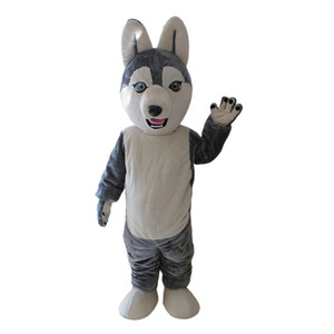 2019Adult Grey Wolf Siberian Husky Mascot Costume Carnival Festival Commercial Advertising Party Dress With A Mini Fan Inside Head