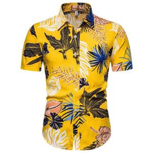 Divertente Stampa Men Shirt Hip Hop casuale Streetwear Hawaii stampa floreale elegante a maniche corte Blusa novità Fiori Streetwear Shirts
