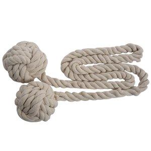 Belle mano legata tenda della clip tendaggi nappe cortina Tiebacks / nappa Finestra corda del cotone del legame palla indietro Accessori 132 centimetri (cremoso-w