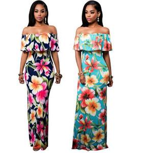 Платье макси для женщин с открытыми плечами Boho с оборками без бретелек Длинные платья с цветочным принтом Весна / Лето Обтягивающее платье Bodycon Beach Party Dress плюс размер